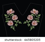 embroidery stitches with pink... | Shutterstock .eps vector #665805205