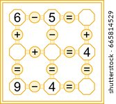 mathematical puzzle game.... | Shutterstock .eps vector #665814529