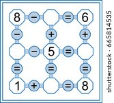 mathematical puzzle game.... | Shutterstock .eps vector #665814535