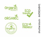 set of eco organic labels | Shutterstock .eps vector #665826841
