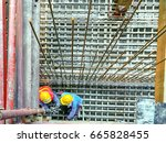 construction workers sit on... | Shutterstock . vector #665828455