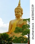 Small photo of Big Golden Buddha stature Wat Prachum Rath Prathumthanee Thailand