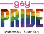 poster with text over rainbow... | Shutterstock .eps vector #665844871