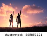 people power  man and woman... | Shutterstock . vector #665853121