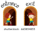 opposite wordcard for entrance... | Shutterstock .eps vector #665854855