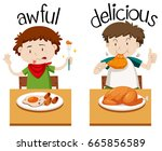 opposite words for awful and... | Shutterstock .eps vector #665856589