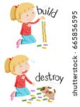 opposite words for build and... | Shutterstock .eps vector #665856595
