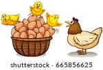 chicken and eggs in basket... | Shutterstock .eps vector #665856625