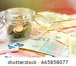 finance background with money... | Shutterstock . vector #665858077