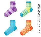 flat design colorful socks set... | Shutterstock .eps vector #665859949