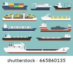 cargo vessels and tankers... | Shutterstock .eps vector #665860135