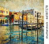 romantic Venice - artistic picture - stock photo