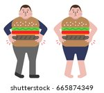 fat business man always eat... | Shutterstock .eps vector #665874349