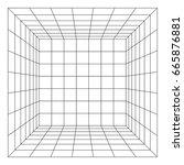 wireframe mesh cube room.... | Shutterstock .eps vector #665876881