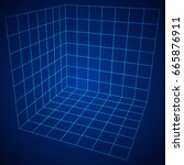 wireframe mesh cube plane axis. ... | Shutterstock .eps vector #665876911