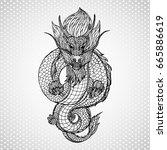 dragon illustration vector icon. | Shutterstock .eps vector #665886619
