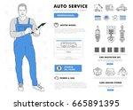 auto service contour line...   Shutterstock .eps vector #665891395