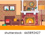 room interior fireplace design... | Shutterstock .eps vector #665892427
