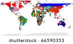 map of world with flags in... | Shutterstock . vector #66590353