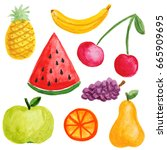 painted watercolor fruits | Shutterstock . vector #665909695