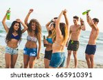 multiracial group of friends... | Shutterstock . vector #665910391