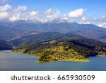 lake and mountain landscape ... | Shutterstock . vector #665930509