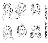 hairstyles for women  vector.... | Shutterstock .eps vector #665950171