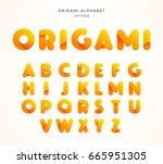 vector origami alphabet. letter ... | Shutterstock .eps vector #665951305