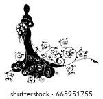 bride in silhouette design  in... | Shutterstock .eps vector #665951755