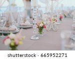 wedding table settings | Shutterstock . vector #665952271