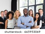 Small photo of African American Businessman Boss With Group Of Business People In Creative Office, Successful Mix Race Man Leading Businesspeople Team Stand Folded Hands, Professional Staff Happy Smiling