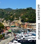 portofino  italy   june 13 ... | Shutterstock . vector #665955199