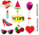 a fashionable set of patches... | Shutterstock .eps vector #665961331