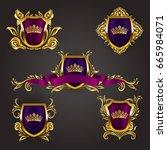 set of golden royal shields... | Shutterstock .eps vector #665984071