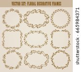 vector set of decorative hand... | Shutterstock .eps vector #665984371