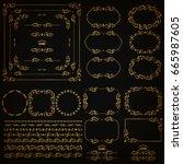 set of gold decorative hand... | Shutterstock .eps vector #665987605