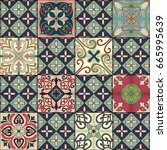 seamless pattern with... | Shutterstock .eps vector #665995639