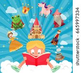 book of fairy tales world of... | Shutterstock .eps vector #665997334