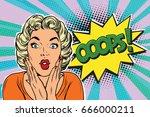oops pop art blond woman. retro ... | Shutterstock .eps vector #666000211