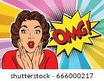 omg pop art brunette woman. pop ... | Shutterstock .eps vector #666000217