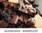 heap of broken chocolate pieces ... | Shutterstock . vector #666001225
