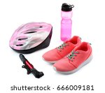 set of bicycle accessories on... | Shutterstock . vector #666009181