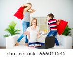 stressed mother working from... | Shutterstock . vector #666011545