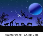 Santa Claus in Africa - silhouettes of wild animals and flying Santa - stock vector