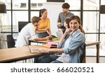 group of five creative worker... | Shutterstock . vector #666020521
