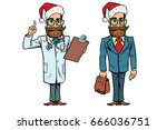 hipster christmas doctor and... | Shutterstock .eps vector #666036751