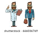 hipster doctor and businessman | Shutterstock .eps vector #666036769