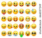 set of emoticons  emoji... | Shutterstock .eps vector #666037249
