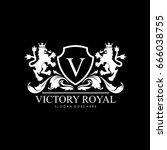 victory royal lion brand logo... | Shutterstock .eps vector #666038755