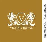 victory royal lion brand logo... | Shutterstock .eps vector #666038785
